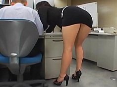 Japanese office girl gets fucked by two