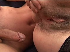 Mature hairy stepmom helping younger cock