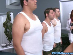 Busty femdoms jerking sucking and pumping