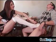 Hot Girl Giving Lots Of Footjobs