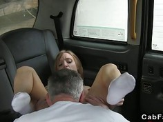 Tattooed back British babe bangs in fake taxi