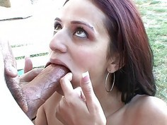 Cute Latina Gags On A Big Cock!