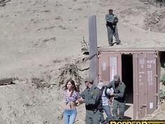 Slim teen Hannah Hartman deepthroats border patrol agent