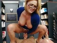 Horny school librarian gets slammed on her desk