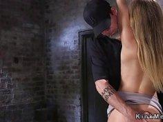 Beautiful ass blonde spanked in suspension bondage