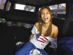 Enjoying car sex with a sexy stud