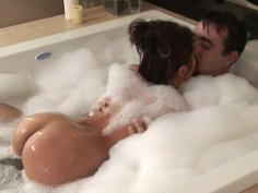 Mature male customer  gets served by cute brunette Jackie Lin