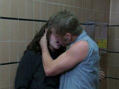 Dirty slut Gracie Glam fucks the guy in a toilet