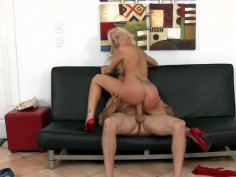Slim and curvy blonde beauty Trixie rides dick on the couch
