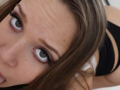 Beautiful teen Liza Rowe sucking dick in POV