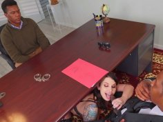 Ivy Lebelle gives blowjob to Isiah Maxwell in the office
