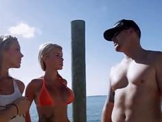 Curvy badass girls enjoyed seabob and jetski in topless