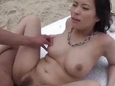 Kyouko Maki shakes tits and deals cock in outdoor show