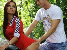She is so confident that she challenges a guy on a sport bike to race, but he is not going to...