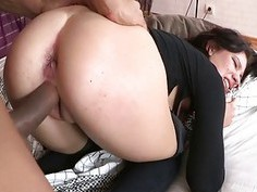 Backdoor hole of chick is stuffed by huge cock