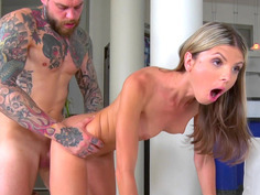 Gina Gerson gets fucked by her stepdad in the living room