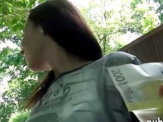 Sexy Eurobabe gets her pussy fucked by stranger for money