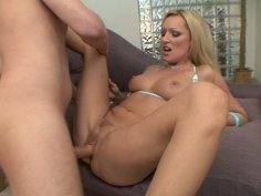 Seductive blonde bitch Diana Doll serves her holes for Mark Wood