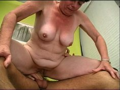 Ugly obese short haired Simone sucks a stiff fresh tool for cum