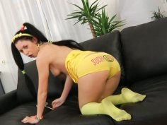 Kinky teen bitch Isabell licks a lollipop and shuts her asshole with a fat black dildo
