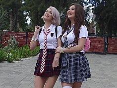 Kinky schoolgirls going all crazy