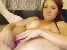 Big tits redhead milf camgirl dildoing on webcam