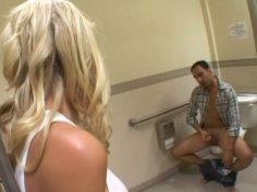 Cheap blonde slut Allison Pierce gives head in men's restroom