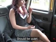 Ebony slut tricked into riding white rod in van