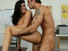 Busty brunette Romi Rain willingly opens her legs for the guy