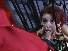 Lola was instructed to suck cock through the bars