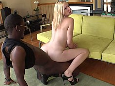 Stretching tight white pussy with big black cock